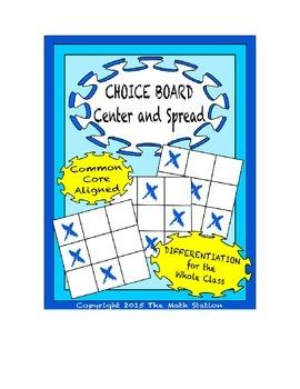 Common Core Math - CHOICE BOARD Center & Spread - 6th Grade