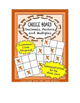 Common Core Math - CHOICE BOARD Decimals, Factors, & Multiples - 6th Grade