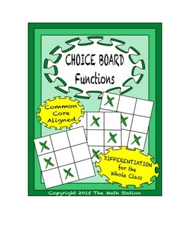 Common Core Math - CHOICE BOARD Functions - 8th Grade