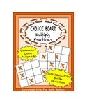 Common Core Math - CHOICE BOARD Multiplying Fractions - 5th Grade