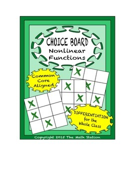Common Core Math - CHOICE BOARD Nonlinear Functions - 8th Grade
