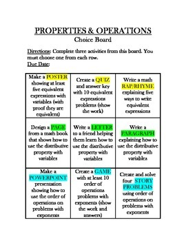 Common Core Math - CHOICE BOARD Properties & Operations - 6th Grade