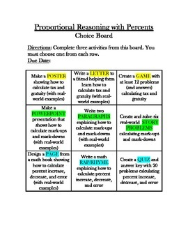Common Core Math - CHOICE BOARD Proportions & Percents - 7th Grade