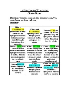 Common Core Math - CHOICE BOARD Pythagorean Theorem - 8th Grade