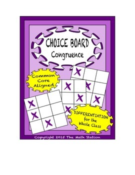 Common Core Math - CHOICE BOARD Understanding Congruence - 8th Grade