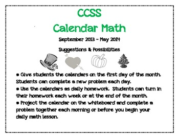 First Grade Common Core Math Calendars 2013 - 2014