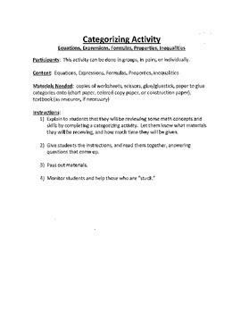 Common Core Math - Categorization Activity - Algebra