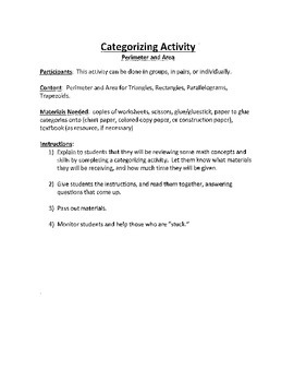 Common Core Math - Categorization Activity - Geometry - Perimeter and Area