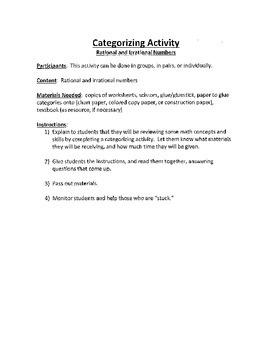 Common Core Math - Categorization Activity - Rational vs. Irrational