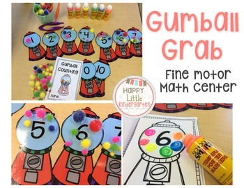 Common Core Math Center: Gumball Grab Counting & Cardinality Center