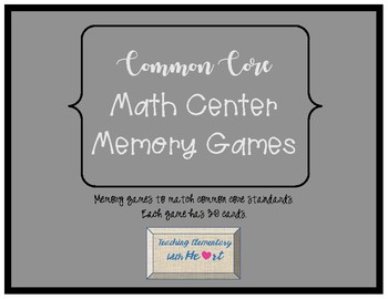 Common Core Math Center Memory Games