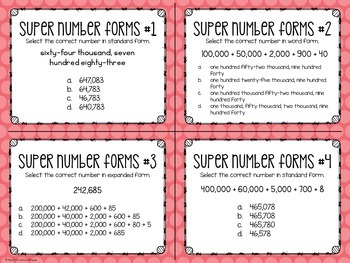 Common Core Math Centers (4.NBT.2 - Number Forms & Comparing Numbers)