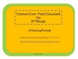 Common Core Math Checklist for 3rd Grade – 4 Marking Periods!