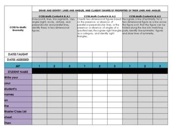 Common Core Math Checklist for 4th Grade - 3 Marking Periods!