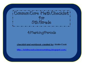 Common Core Math Checklist for 5th Grade – 4 Marking Periods!