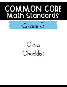 Common Core Math Checklists - 5th grade
