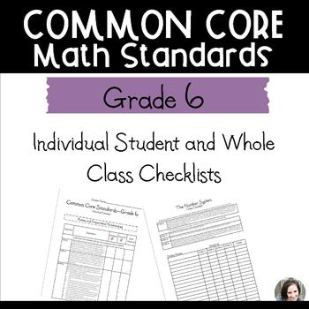 Common Core Math Checklists - Grade 6