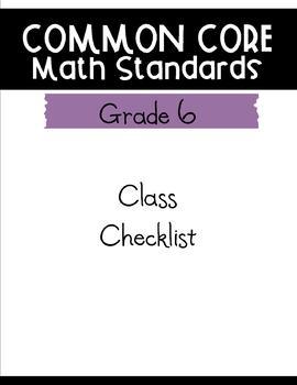 Common Core Math Checklists - Grade 6