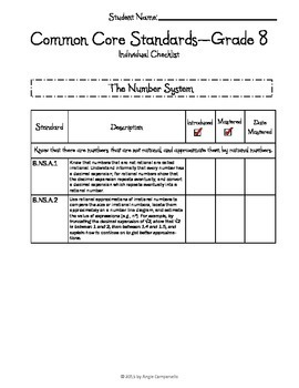 Common Core Math Checklists - Grade 8