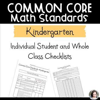 Common Core Math Checklists - Kindergarten