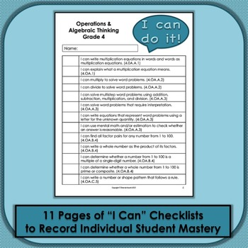 Common Core Math Checklists and Objectives for Grade 4