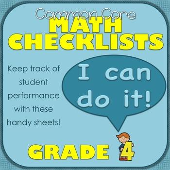 Common Core Math Checklists for Grade 4