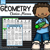 Distance Learning Home School Geometry Second Grade Choice Boards