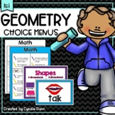 Distance Learning Home School First Grade Geometry Boards