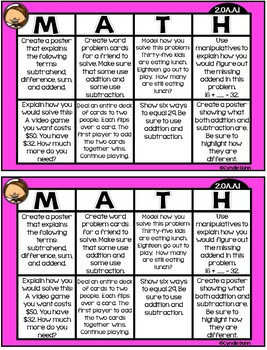 Math Choice Boards for Second Grade Operations and Algebraic Thinking