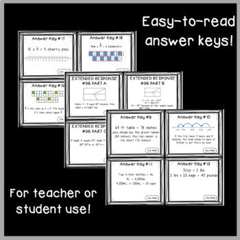 Common Core Math Constructed Response Problems - ALL 4th Grade Math Standards