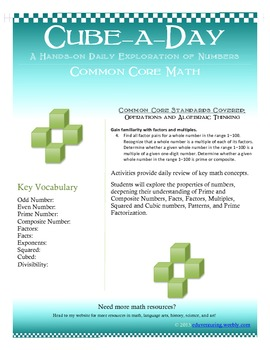 Common Core Math -- Cube-A-Day -- A Daily Hands-on Explora