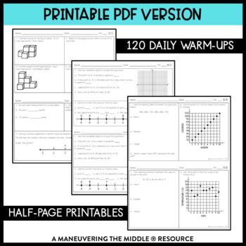 6th Grade Math Warm Ups - Common Core