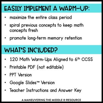 6th Grade Math Warm Ups (CCSS-Aligned Math Bell Ringers)