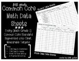 Common Core Math Data Sheets - First Grade