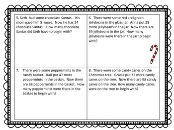 Second Grade Common Core Math-2.OA.1- December Word Problems