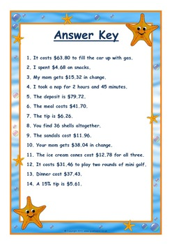 Common Core Math Decimal Word Problems Beach Vacation Theme