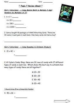 Common Core Math - Envision Grade 4 Topic 7 Review Sheet