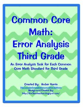 Common Core Math Error Analysis Third Grade