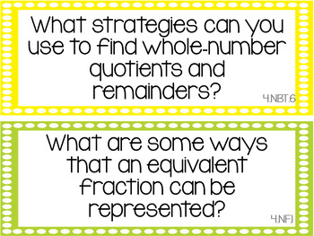 Common Core Math Essential Questions Posters 4th Grade - Dots