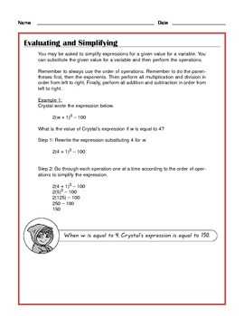 Common Core Math: Evaluating and Simplifying - Tutorial and Practice