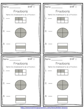 Common Core Math Exit Slips/Quick Checks for 3rd Grade Fractions