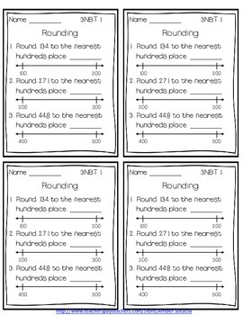 Common Core Math Exit Slips/Quick Checks for 3rd Grade NBT