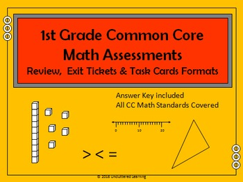 1st Grade Common Core Assessment Math Review, Task Cards & Exit Tickets