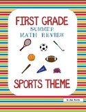 End of Year Math Review - First Grade - Sports Theme