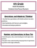 Common Core Math Focus Clusters - Fourth Grade