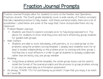 Common Core Math- Fractions Journal Prompts