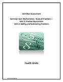Common Core Math Fractions Unit Post-Assessment, 4th Grade