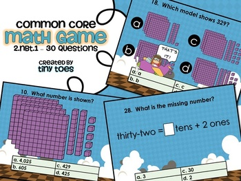 Common Core Math Game for SECOND Grade - 2.NBT.1  Interact