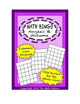 """Common Core Math Games - """"Math BINGO"""" Angles & Volume - 8th Grade"""