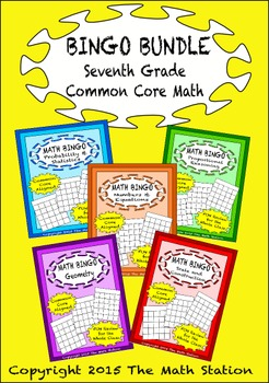 This is a photo of Simplicity 7th Grade Math Bingo Printable